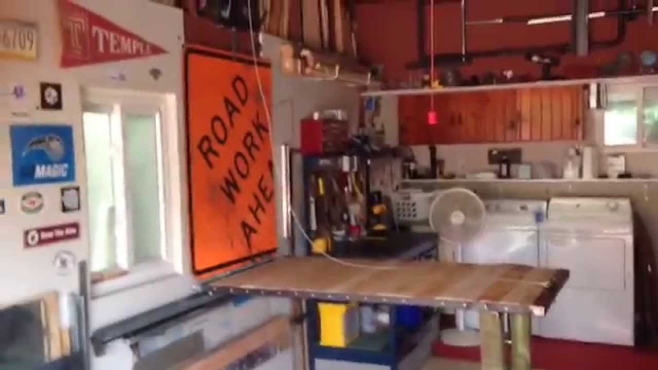 Folding Garage Work Table With Winch   YouTube