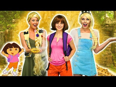 DISNEY PRINCESSES AND DORA FIND MAGIC TREASURE Elsa and Anna Ariel Rapunzel and Belle 2019