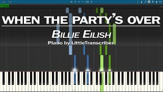Billie Eilish - when the party's over (Piano Cover) Synthesia Tutorial by LittleTranscriber
