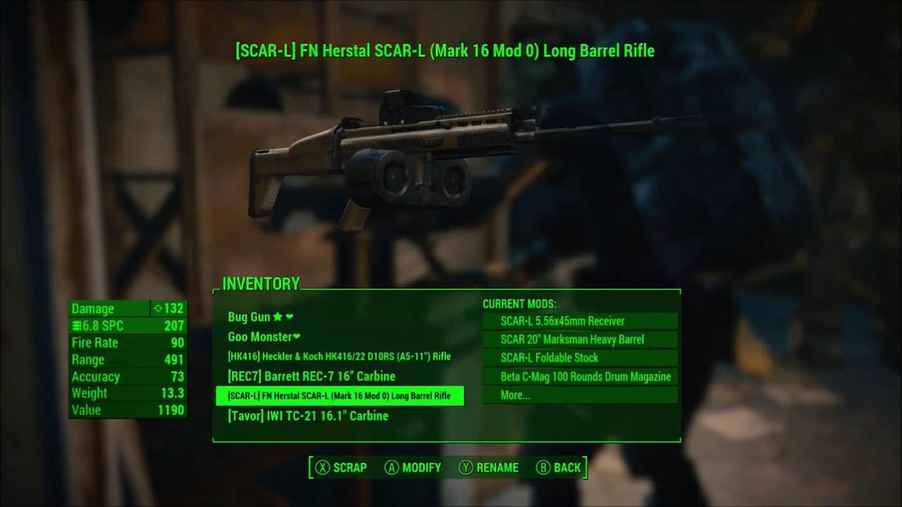 Fallout 4 Modern Firearms BETA 2 5: REC 7 and SCAR L