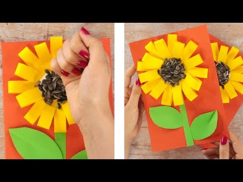 PAPER CRAFTS FOR KIDS - Paper Loops Sunflower Craft With Seeds