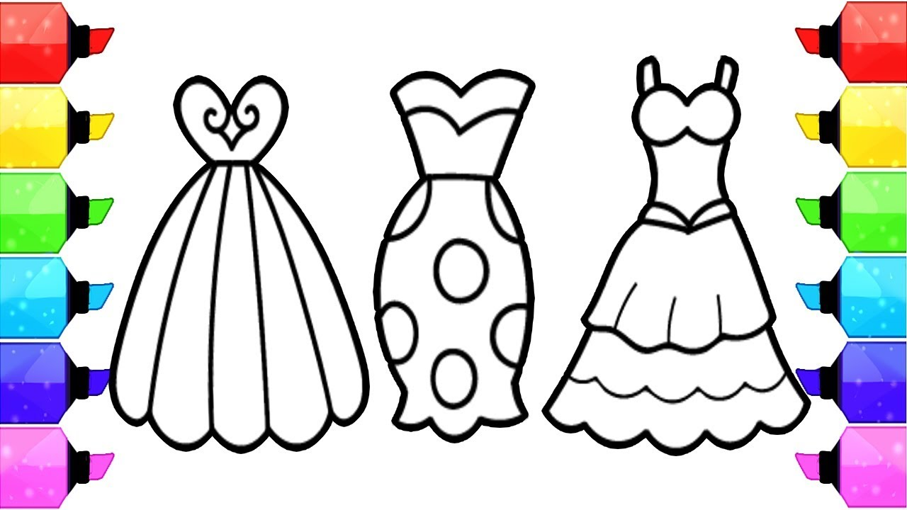 Coloring Pages Dresses For Girls | How to Draw Dresses To ...
