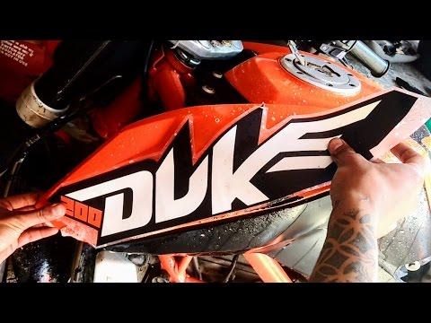 How to apply KTM Duke 200 bike body sticker.