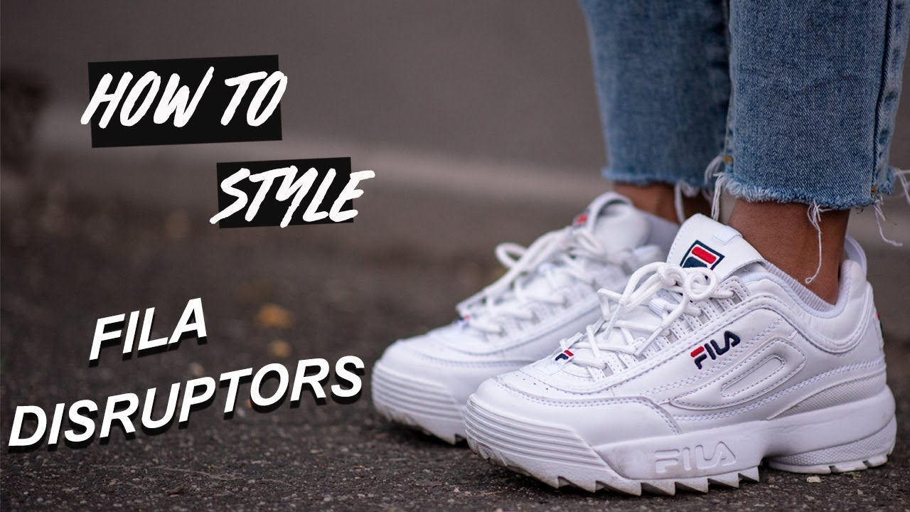 how to style  fila disruptor sneakers  youtube