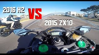 2016 Supercharged Kawasaki H2 and Zx-10 Full Power!