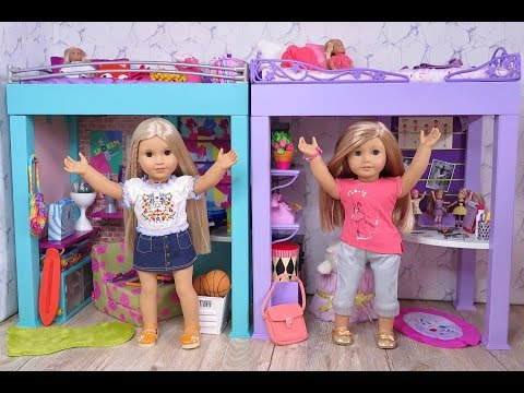 Setting Up My American Girl Doll College Dorm Bedroom With Loft Beds!