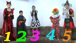 Five little halloween jumping on the bad by Guka Family Show