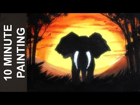 Painting an Elphant in an African Sunset Landscape with Acrylics in 10 Minutes!