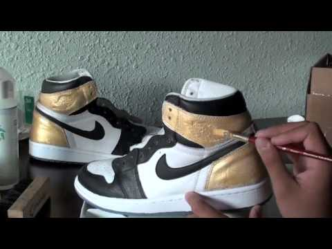 AIR JORDAN 1 LASER CUSTOM GOLD BLACK TOE