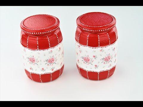 Decoupage jars - Painted jars - painted glass diy - decoupage tutorial - Decoupage for beginners thumbnail