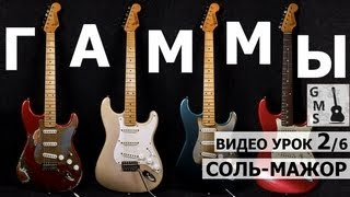 Гамма СОЛЬ-МАЖОР - на электрогитаре, на акустической гитаре. ВИДЕО УРОК 2/6(Табы и ноты скачиваем по ссылке ниже v GUITAR ME SCHOOL. Alexander Chuyko © http://www.GuitarMe.ru В этом видео вы научитесь играть..., 2012-04-21T06:57:28.000Z)