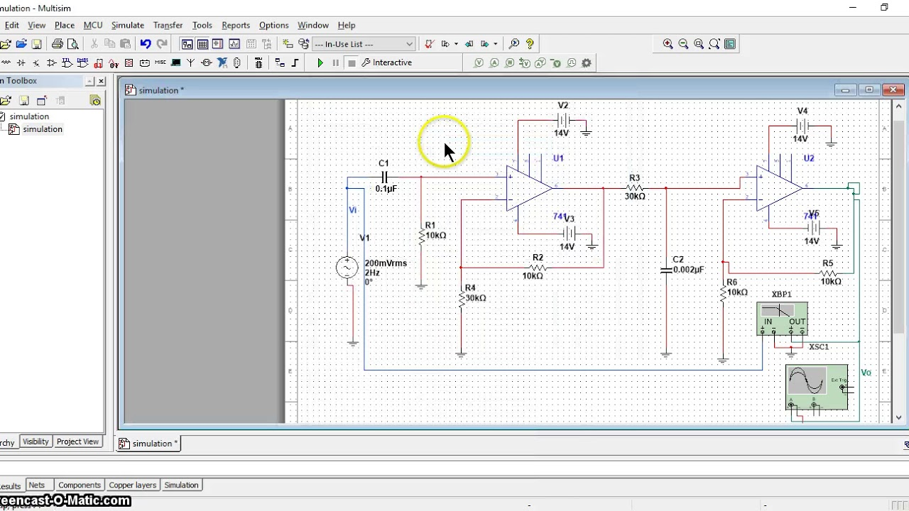Bandpass Filter Using Multisim Youtube