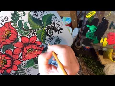 Роспись разделочной доски красными цветами в хохломском стиле 2 часть