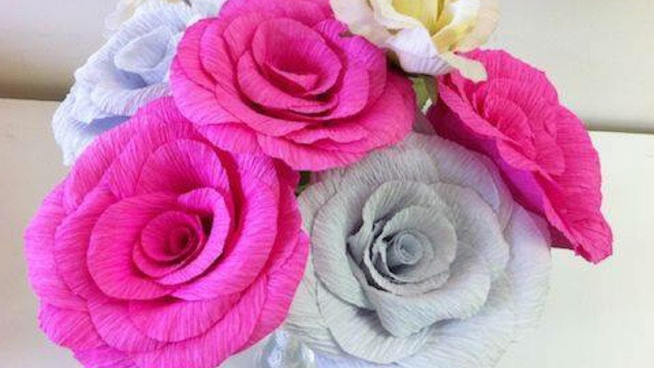 How To Make Flowers Out Of Crepe Paper Youtube