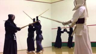 Practicing the Japanese martial art of Kendo in Shenzhen, China