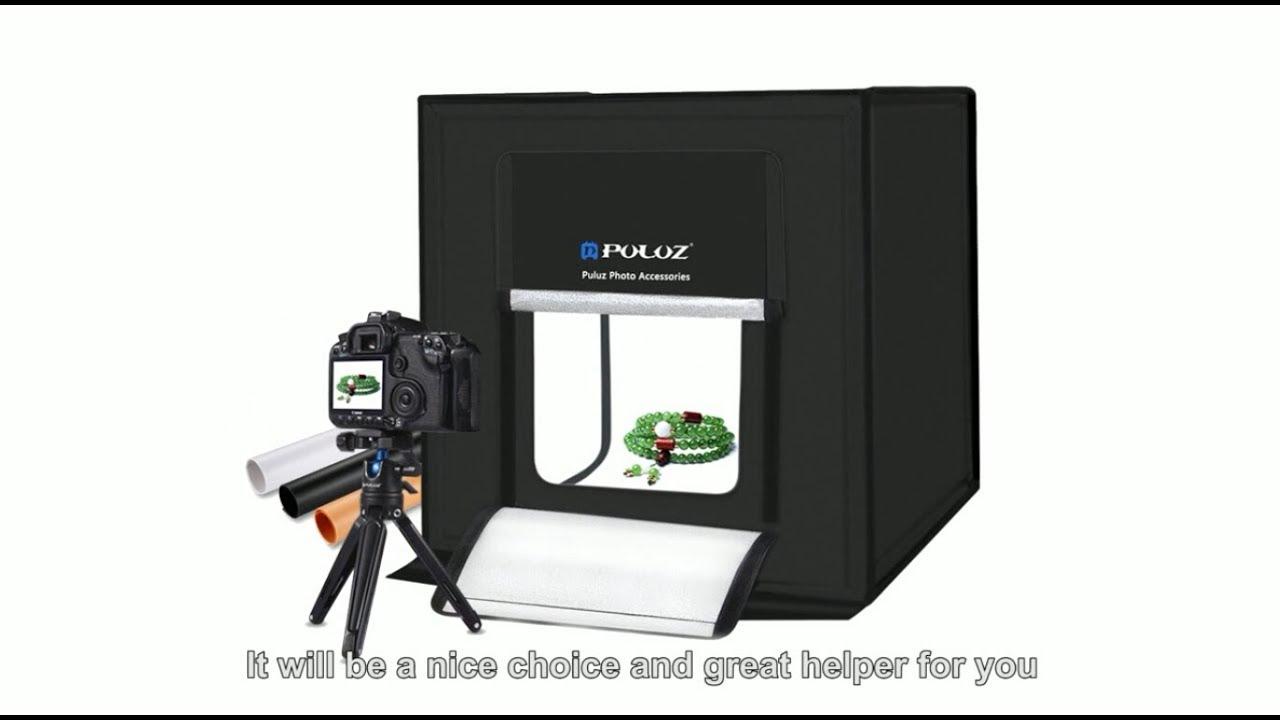40cm 16 x 16 Portable and Folding Shooting Tent Studio Lighting Kit with 5 PVC Backdrops US Stock 12 Touch Fasteners and 1 Clip 2 LED Lamp Panel Mini Photo Studio Light Box