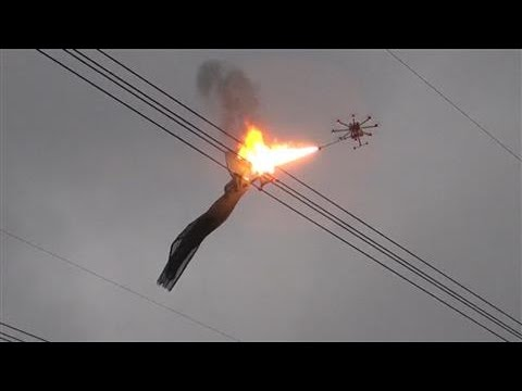 Flame-Throwing Drone Removes Net Entangled In China Power Line