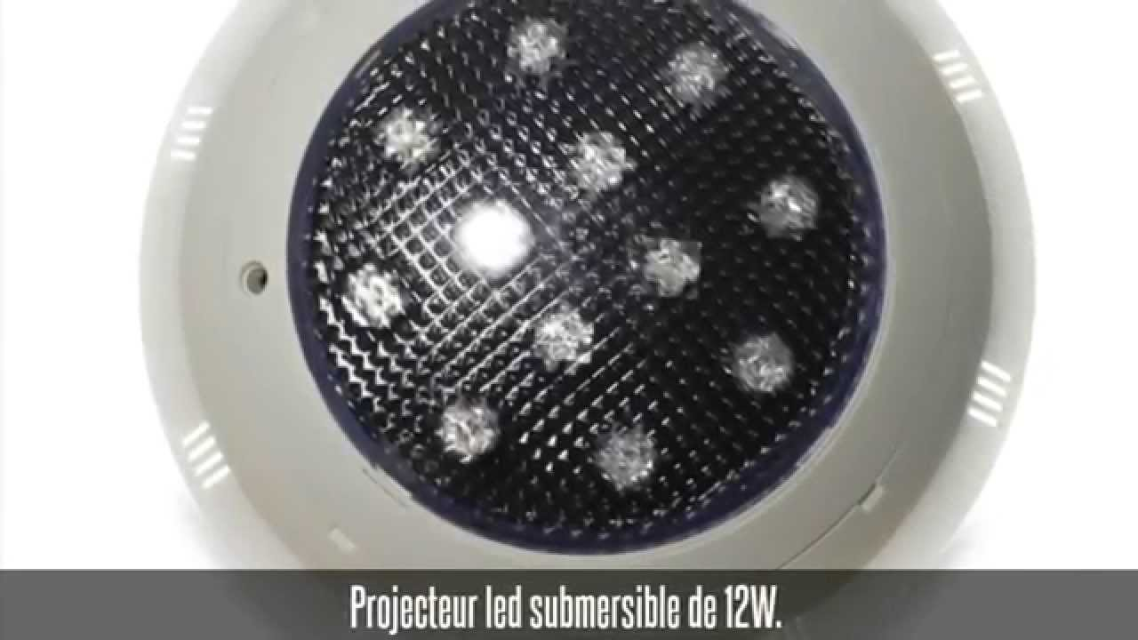 Projecteur led pour piscine hors sol 12w bleu youtube for Projecteur piscine