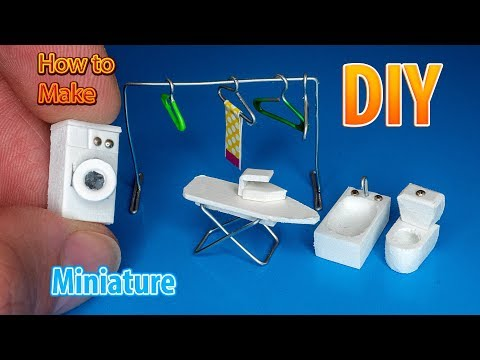 DIY Miniature Washer, toilet, Bathtubs, ironing board, clothes dryer, Hangers | DollHouse