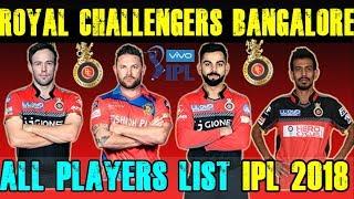 RCB Players List 2018.Ipl Auction 2018.Royal Challengers Bangalore IPL Squad 2018.IPL XI.