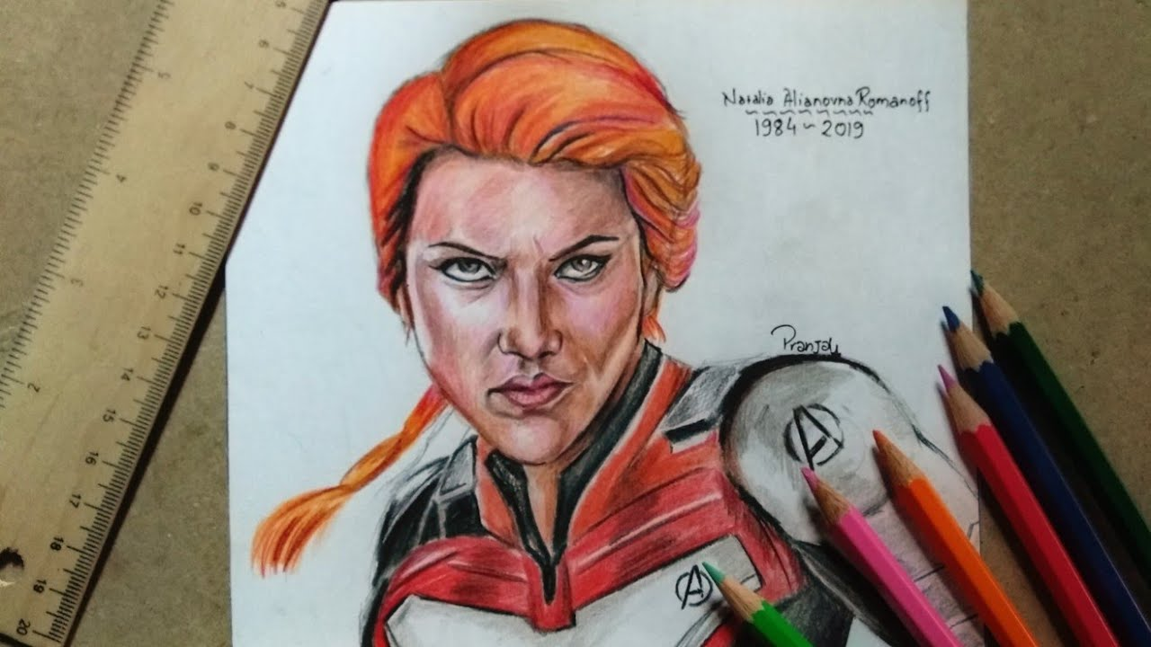Tribute Fanart To Black Widow Avengers Endgame Time Lapse Drawing Pranjal Shrivastava Art