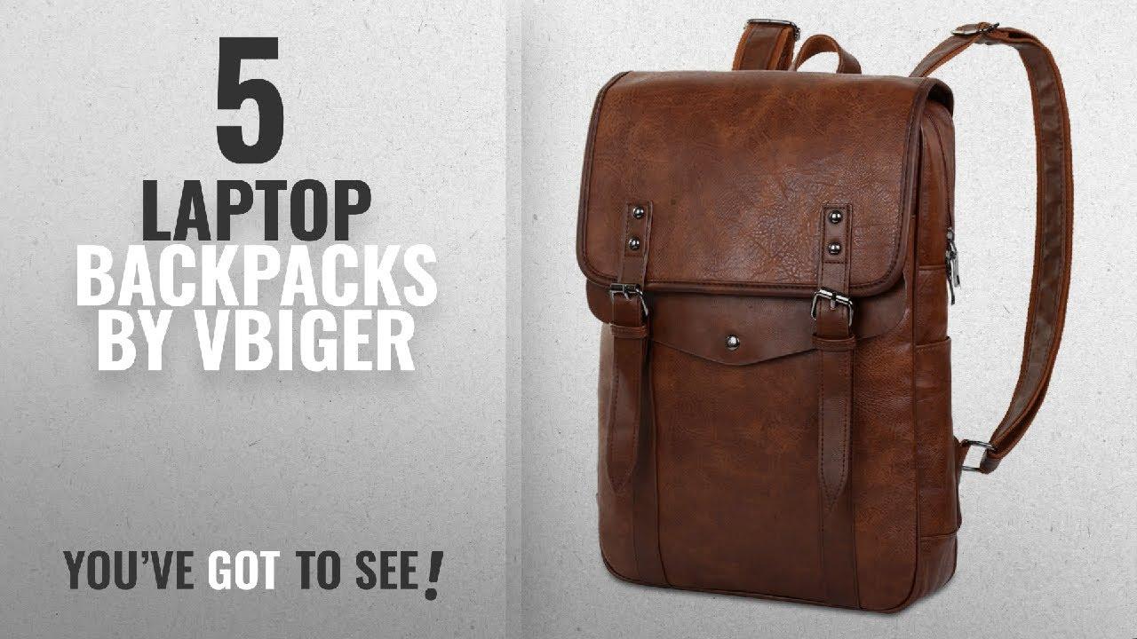 2313d23d90 Top 10 Vbiger Laptop Backpacks  2018   Vbiger Men Vintage PU Leather ...