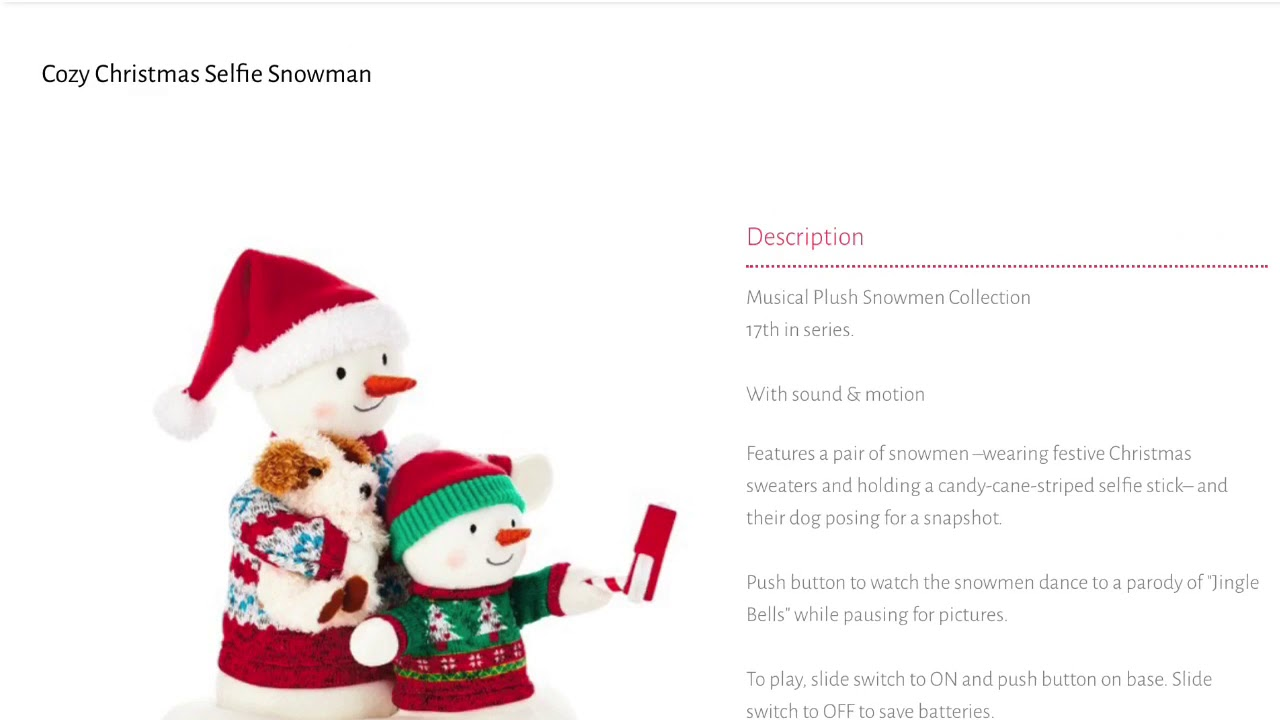 2020  Christmas Snowman 2020 Hallmark Singing Snowman information (MOST POPULAR VIDEO