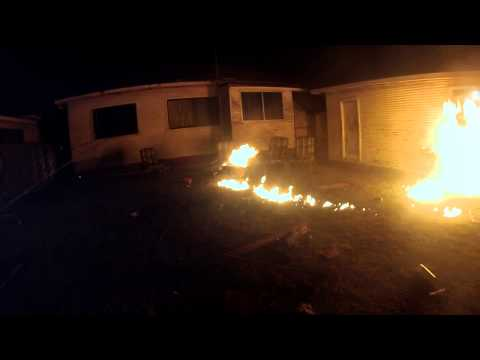 Back yard fire goes out of control -FUNNY