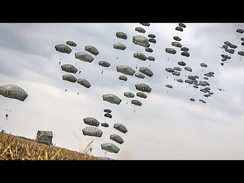 US Army & Serbian Armed Forces Paratroopers Joint Airborne Jump In Serbia