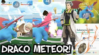 MOST POWERFUL MOVE IN POKEMON GO - DRACO METEOR! - 100% IV SALAMENCE GYM BATTLES!