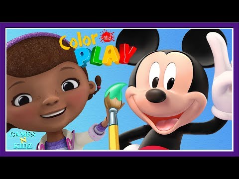 Animated Coloring Book Paint 3D Color Games PART 1 Mickey Mouse Clubhouse Minnie Doc McStuffins