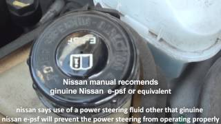 where is the power steering fluid nissan altima 2013