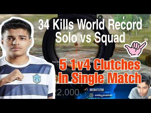 Entity Jonathan 34 Kills Jonathan Record   Solo Vs Squad India's Best Player