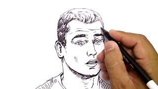 NO PENCIL, NO ERASER,, how to draw Anton Greizman football player french