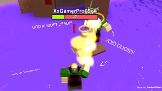 ROBLOX Booga Booga | VOID DUOS!!! (DESTROYING GOD, EM, AND MAG!!)