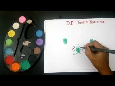 Thumb Painting. Butterfly thumb printing for kids.