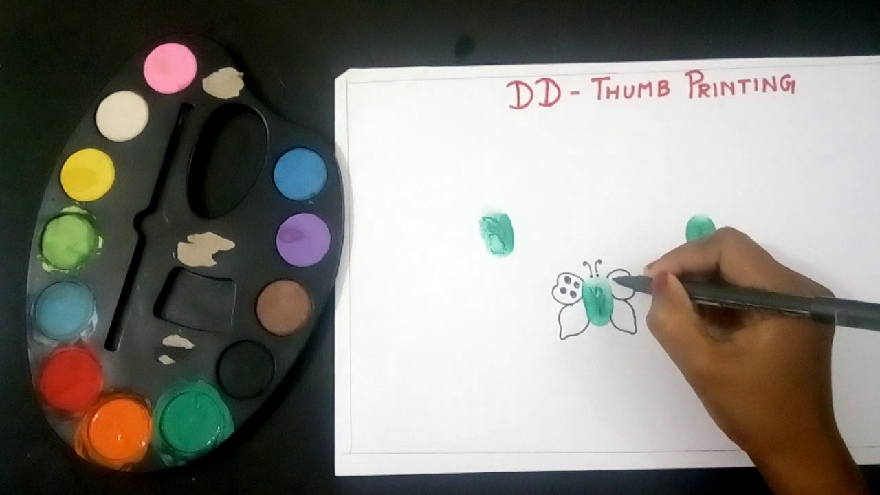 Thumb Painting. Butterfly thumb printing for kids. - YouTube