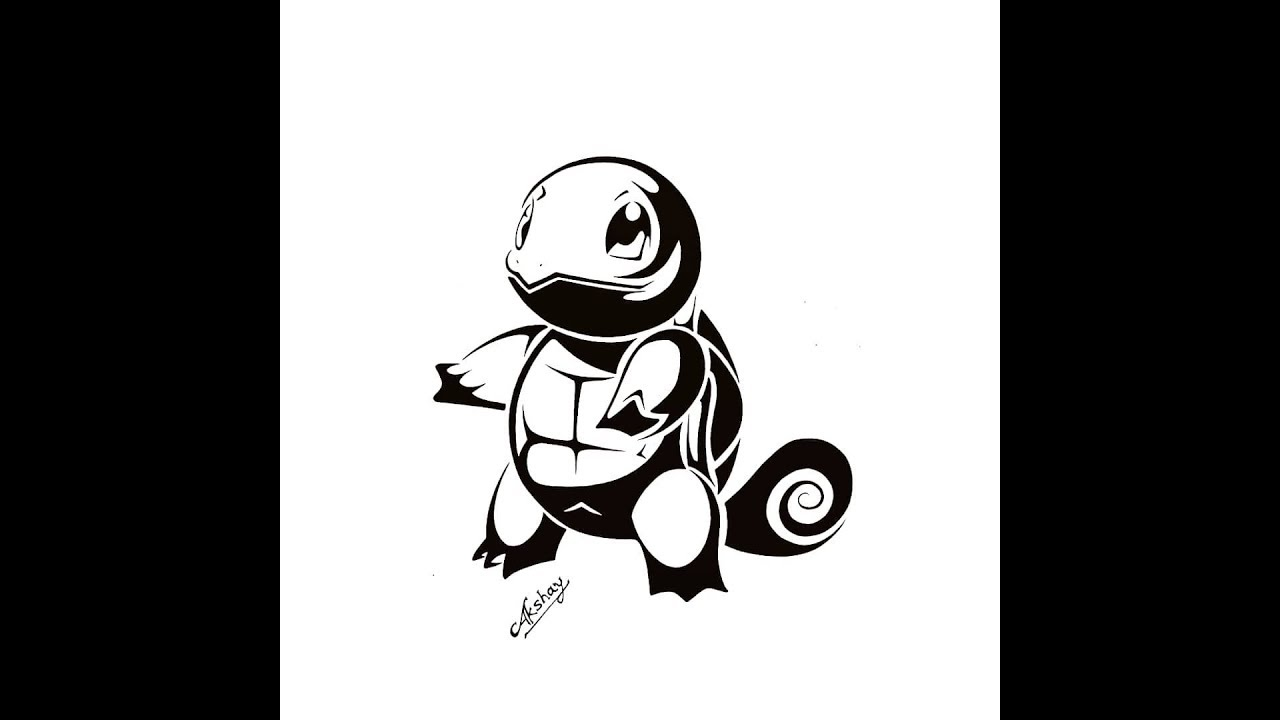 How to draw Squirtle From Pokemon - Tribal Tattoo Design ...