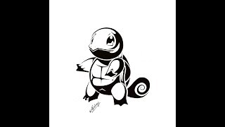 How to draw Squirtle From Pokemon - Tribal Tattoo Design Style - Art Maker Akshay