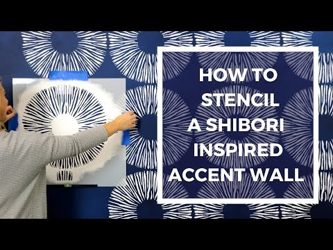 How To Stencil A Shibori Inspired Accent Wall On A Colorwashed Wall