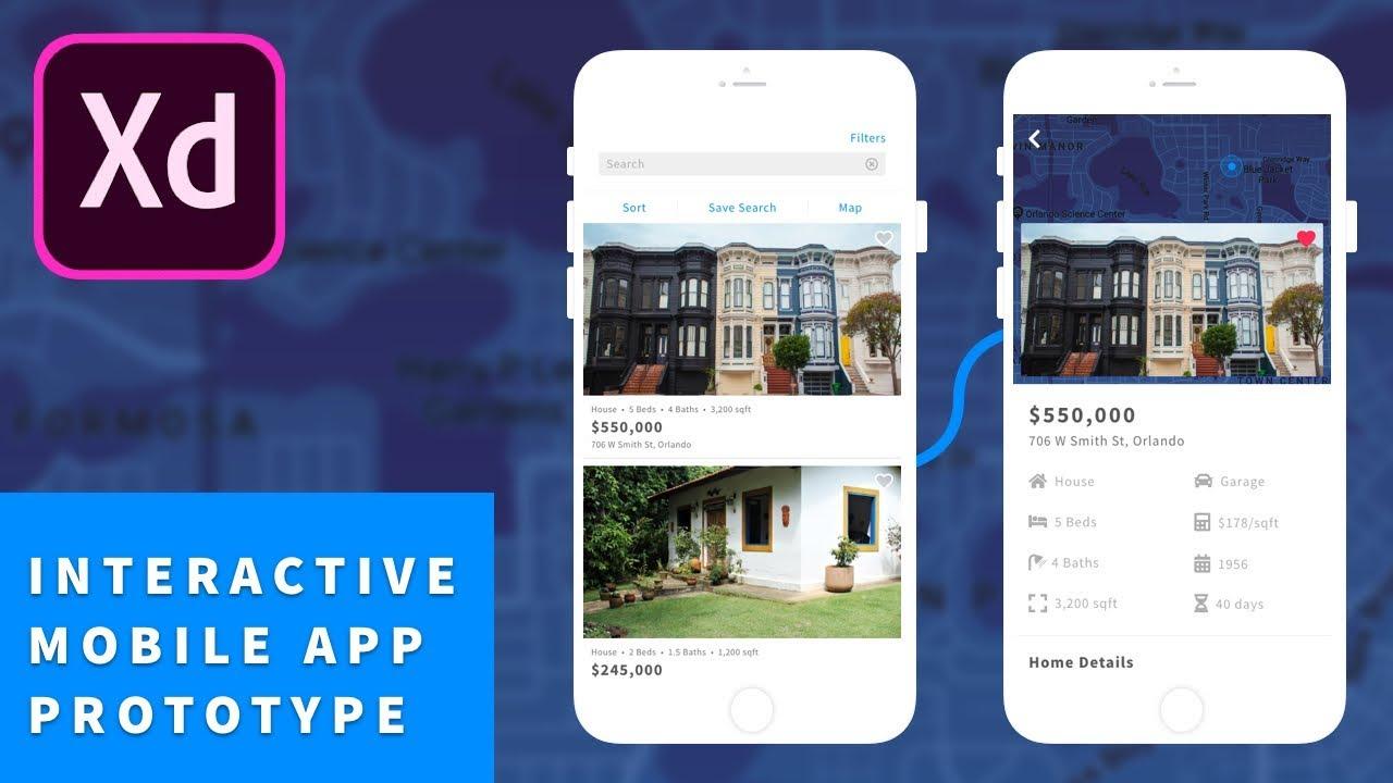 Adobe Xd Cc Tutorial Real Estate Mobile Application Design Youtube