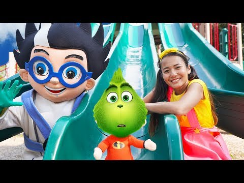 PJ Masks Playground In Real Life Adventure at Park with The Grinch and Ellie Sparkles
