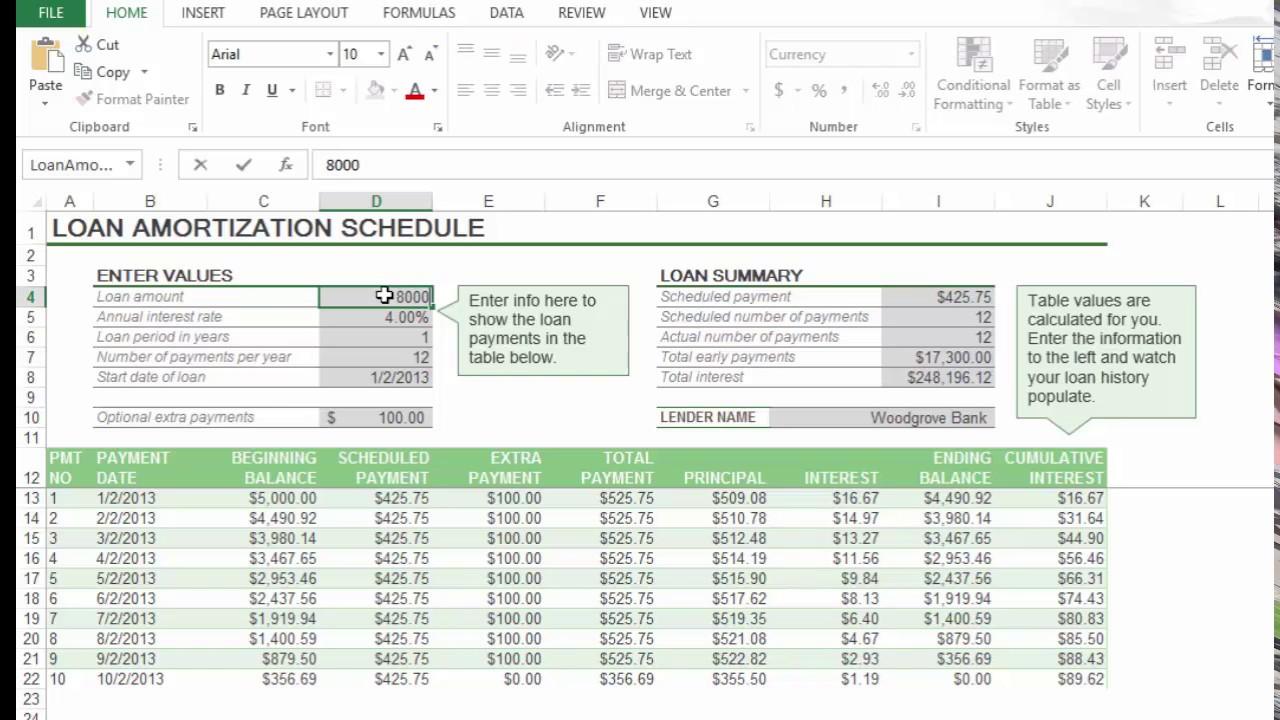 loan amortization calculation excel