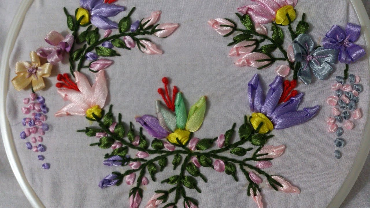 Ribbon work bed sheets designs - Ribbon Embroidery Stitches By Hand Tutorial Ribbon Embroidery Designs