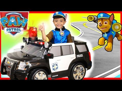 Thumbnail: Police Rollplay Kids Ride On Car Surprise Toys Presents Power Wheels Paw Patrol Chase pj masks