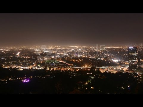 Time Lapse of the San Fernando Valley at Night - Los Angeles. Stock Footage