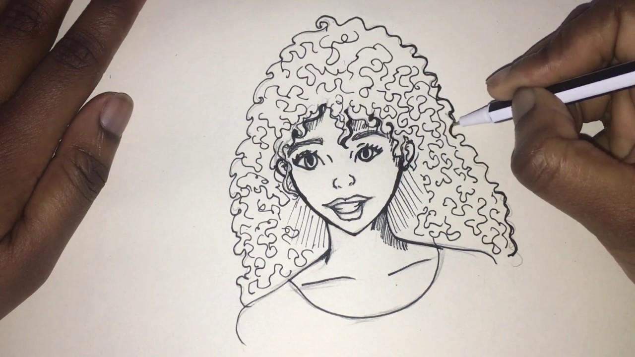 draw black curly hair