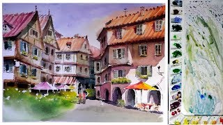 Watercolor Painting : Old Quarter Street scene