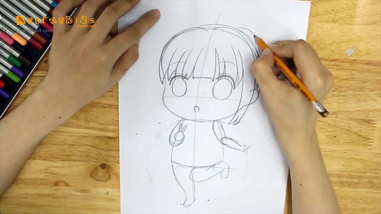 Hướng dẫn bé cách vẽ tranh Chibi đơn giản và cute