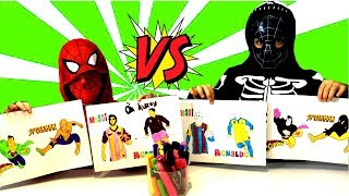 SUPERHERO 3 MARKER CHALLENGE! Sado Pretend Play with Colored Paints and Superhero Costumes